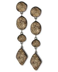 Robert Lee Morris - Metallic Robert Lee Morris Hematite-tone Geometric Gold Drusy Linear Earrings - Lyst