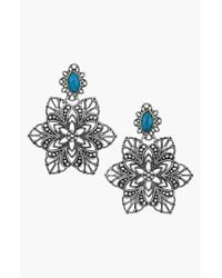 Sam Edelman | Blue Flower Drop Earrings - Turquoise | Lyst