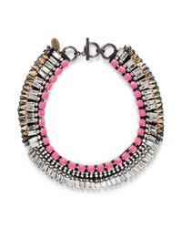 Venna - Multicolor Crystal Fringe Spike Necklace - Lyst