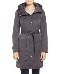 Ellen Tracy - Black Belted Utility Trench Coat - Lyst