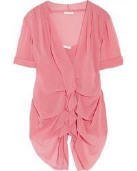 Donna Karan | Pink Ruched Stretch Silk Chiffon Top | Lyst