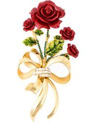 Dolce & Gabbana - Metallic Rose Bouquet Brooch - Lyst