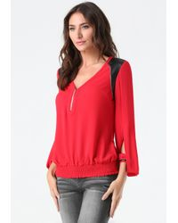 Bebe - Red Veronica Blouson Top - Lyst