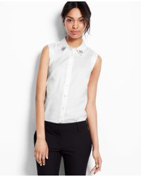 Ann Taylor - White Petite Embellished Perfect Stretch Cotton Sleeveless Shirt - Lyst