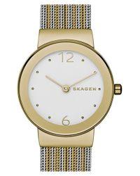 Skagen - Brown 'freja' Mesh Strap Watch - Lyst