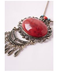 Missguided - Semi- Precious Stone Drop Necklace Red - Lyst