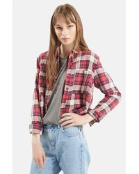 TOPSHOP | Red 'chloe' Crop Plaid Shirt | Lyst