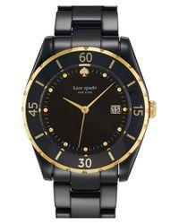 kate spade new york - Black 'seaport Grand' Ceramic Bracelet Watch - Lyst