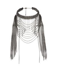 River Island | Black Draped Chain Choker Necklace | Lyst
