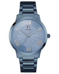 Guess - Gray Men's Blue Ion-plated Stainless Steel Bracelet Watch 43mm U0694g2 for Men - Lyst