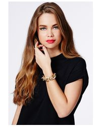 Missguided - Metallic Mauricia Gold Chain Bracelet - Lyst