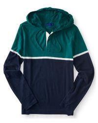 Aéropostale | Blue Long Sleeve Colorblock Hooded Henley for Men | Lyst