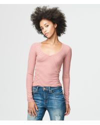 Aéropostale | Multicolor Long Sleeve Striped V-neck Layering Tee | Lyst