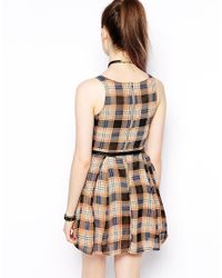 Glamorous - Brown Belted Dress in Check Print - Lyst