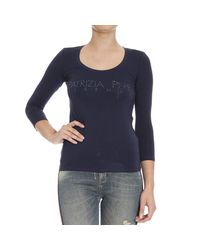 Patrizia Pepe | Blue T-shirt Long Sleeves Round Neck Logo Strass | Lyst