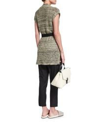 Brunello Cucinelli - Gray Paillette-embellished Sleeveless Sweater W/belt - Lyst