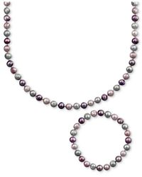 Macy's - Multicolor Pearl Jewelry Set, Sterling Silver Purple And Gray Cultured Freshwater Pearl Necklace And Stretch Bracelet - Lyst