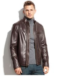 Cole Haan - Brown Smooth Leather Jacket for Men - Lyst