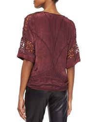 IRO - Purple Brynn Embroidered Half-sleeve Top - Lyst