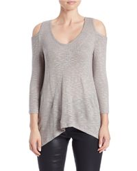 DKNY | Gray Cold-shoulder Top | Lyst
