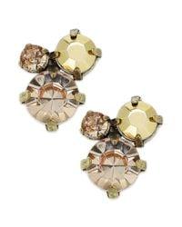 American Rag | White Goldtone Faceted Crystal Cluster Stud Earrings | Lyst