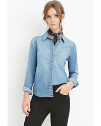 Forever 21 - Blue Classic Denim Shirt - Lyst