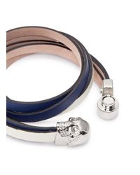 Alexander McQueen - Blue Skull Double Wrap Leather Bracelet - Lyst