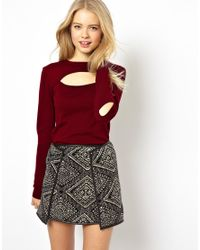 ASOS - Red Sweater with Cut Out Front - Lyst