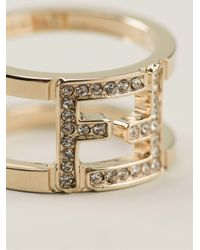 Fendi - Metallic Double Band Ring - Lyst