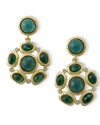 Kenneth Jay Lane | Green Emerald Cabochons Pierced Earring | Lyst