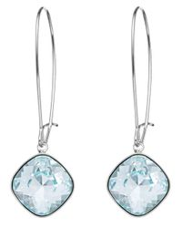Swarovski | Blue Crystal Lazo Thankful Hoop Earrings | Lyst