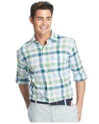 Izod - Blue Lightweight Plaid Pocket Long Sleeve Shirt for Men - Lyst