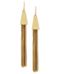 Vince Camuto | Metallic Gold-tone Chain Tassel Drop Earrings | Lyst