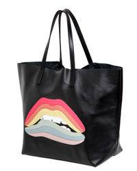 RED Valentino | Black Rainbow Lips Patch Leather Top Handle | Lyst