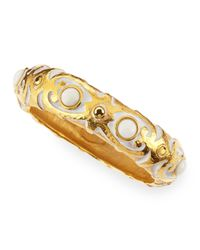 Jose & Maria Barrera - Metallic White Washed 24k Gold Plated Carved Cuff - Lyst