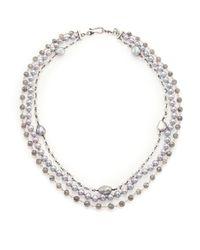 Chan Luu - Metallic 6mm Grey Pearl, Labradorite, Clear Quartz & Sterling Silver Multi-strand Necklace - Lyst