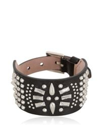 Alexander McQueen | Black Studded Leather Bracelet | Lyst