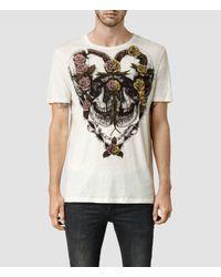 AllSaints | Natural Grateful Crew T-shirt for Men | Lyst