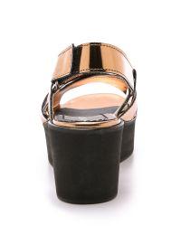 Won Hundred   Metallic Saga Low Flatform Sandals - Copper   Lyst