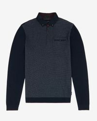 Ted Baker | Blue Ls Birdseye Front Ribstart for Men | Lyst