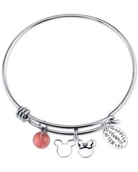 Disney - Red Happily Ever After Cherry Quartz Charm Bracelet In Stainless Steel - Lyst
