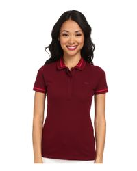 Lacoste - Red Short Sleeve Contrast Tipped Collar Polo Shirt - Lyst