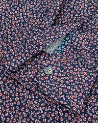 Ted Baker | Blue Leojak Print Button Down Shirt - Regular Fit for Men | Lyst