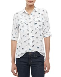 Equipment | White Signature Slim Wandering Horseprint Blouse | Lyst
