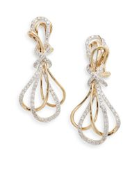 Effy | Metallic Diamond & 14k Yellow Gold Drop Earrings | Lyst