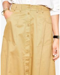 ASOS | Natural Midi Skirt With Button Through In Cotton Twill | Lyst