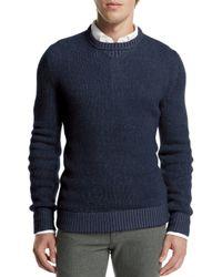 Loro Piana - Blue Baby Cashmere Crewneck Sweater for Men - Lyst