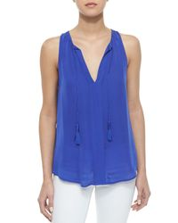 Joie - Blue Airlan Split-Neck Silk Blouse - Lyst