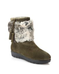 Aquatalia   Green Wilona Suede & Faux Fur Ankle Boots   Lyst