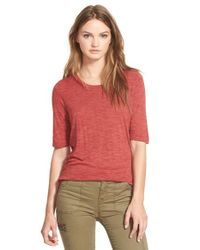 Madewell | Red 'anthem' Curved Hem Tee | Lyst